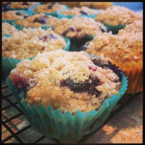 Gluten free Blueberry Applesauce Streusel Muffin